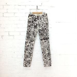 Current Elliot DVF Skinny Pants Brown Floral Print
